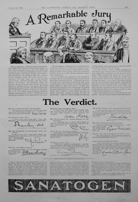 Sanatogen. January 16th 1909