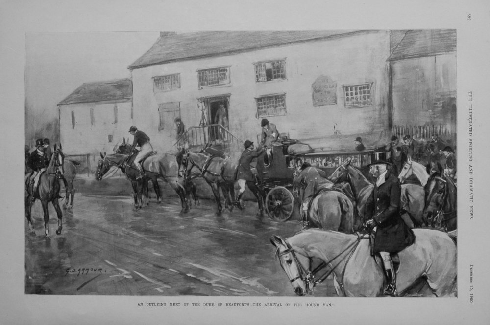 An Outlying Meet of the Duke of Beaufort's -The Arrival of the Hound Van. 1