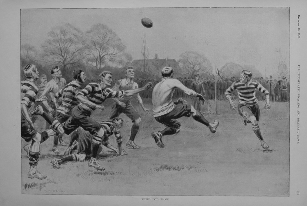 Punted into Touch. 1900.  (Rugby).