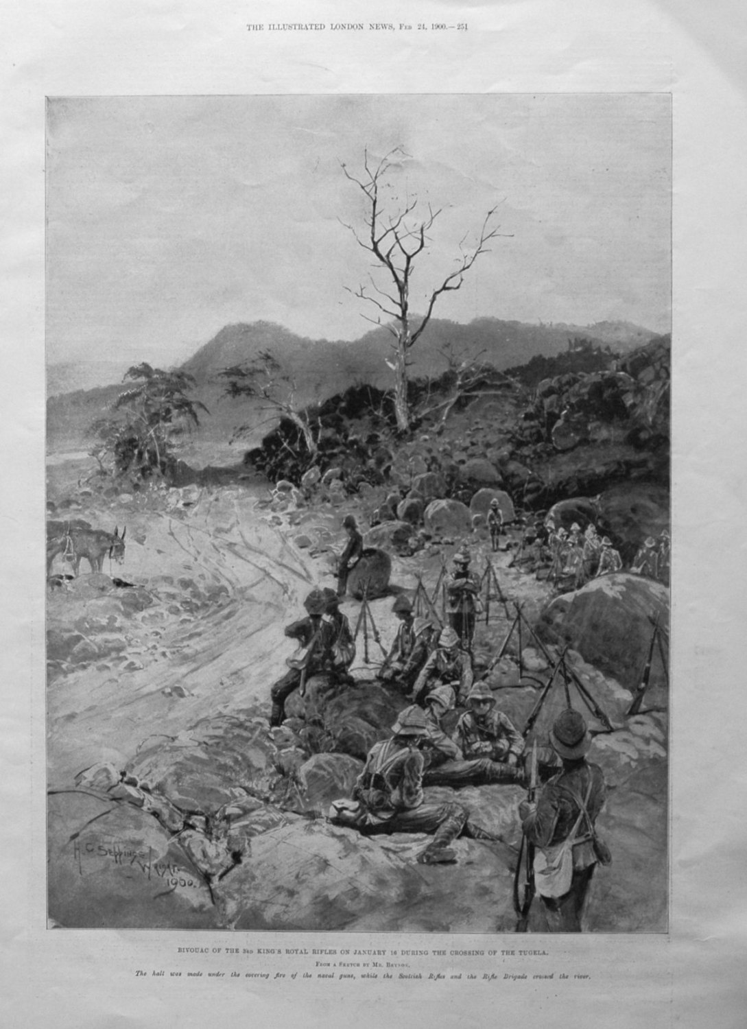 Bivouac of the 3rd King's Royal Rifles on January 16 during the crossing of