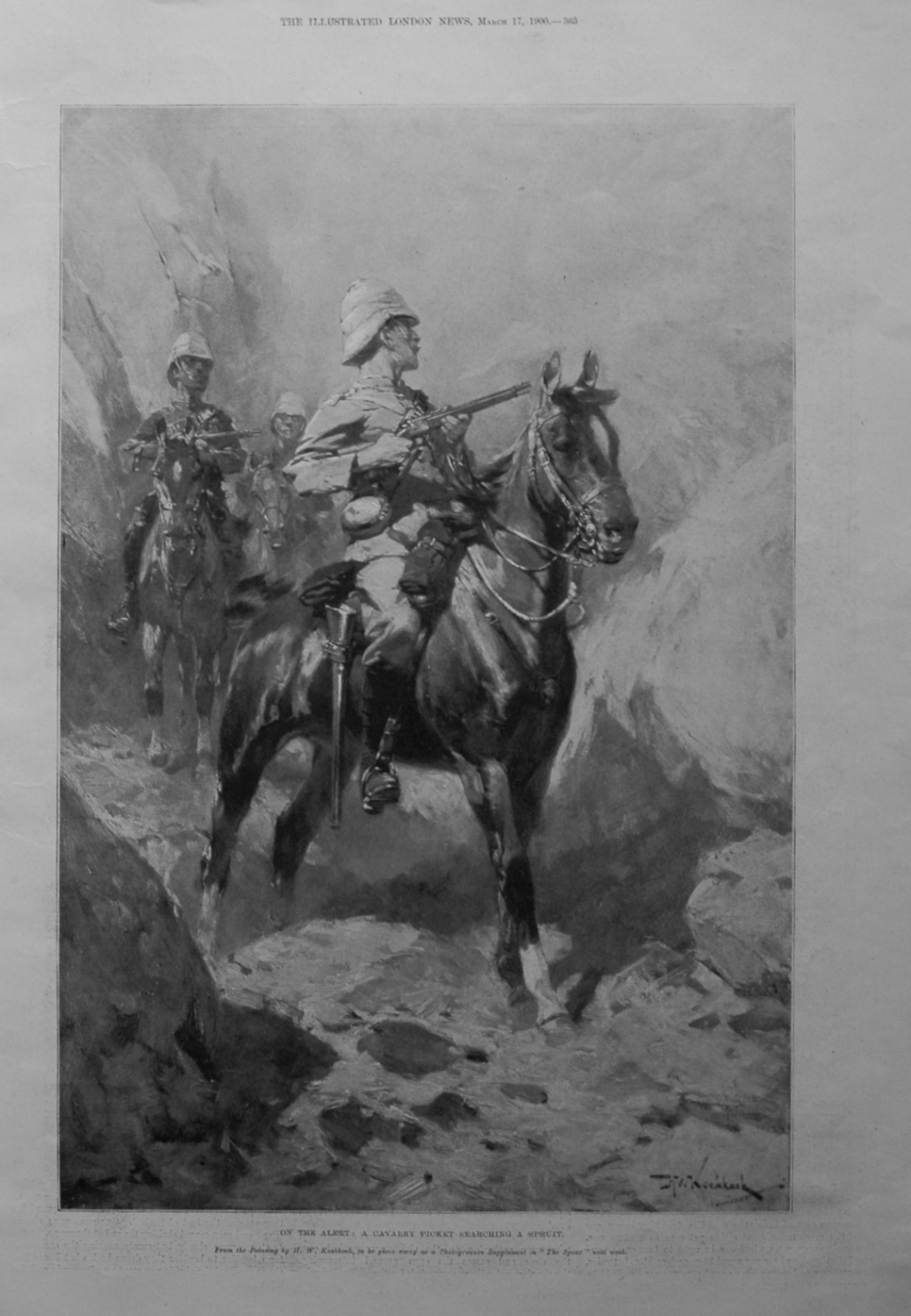 On the Alert : A Cavalry Picket Searching a Spruit. 1900