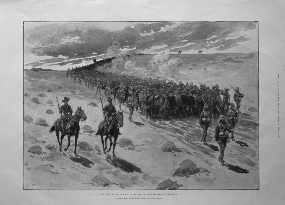The Last March of Cronje's Men after the Paardeberg Surrender. 1900