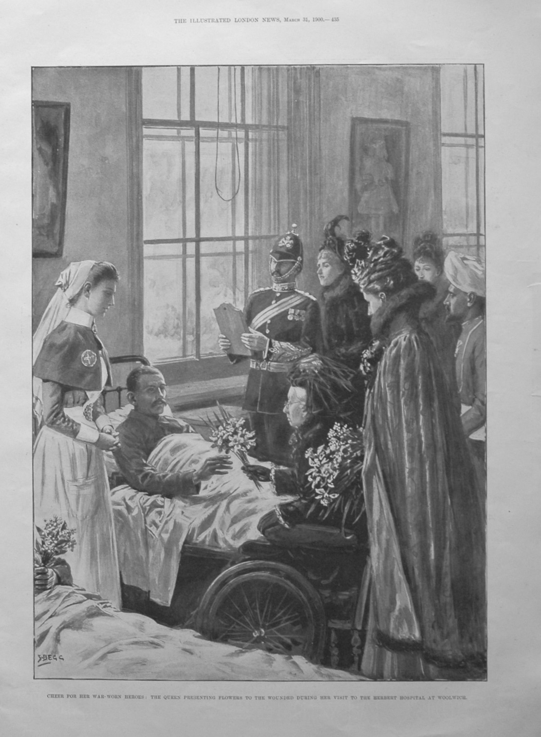 Cheer for Her War-Worn Heroes : The Queen Presenting Flowers to the Wounded