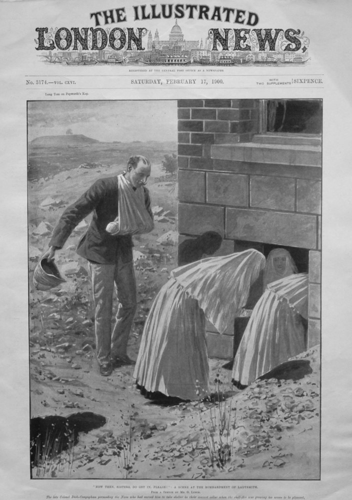 """""""Now Then, Sisters, Do Get In, Please !"""" : A Scene from the Bombardment of Ladysmith."""