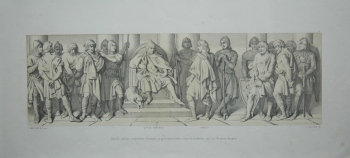 Harold and his companions, brought, as prisoners, before Guy of Ponthieu and his Norman Knights.