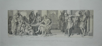 Harold's Captivity announced to William of Normandy who is informed that Guy of Ponthieu demand's ransom for him.