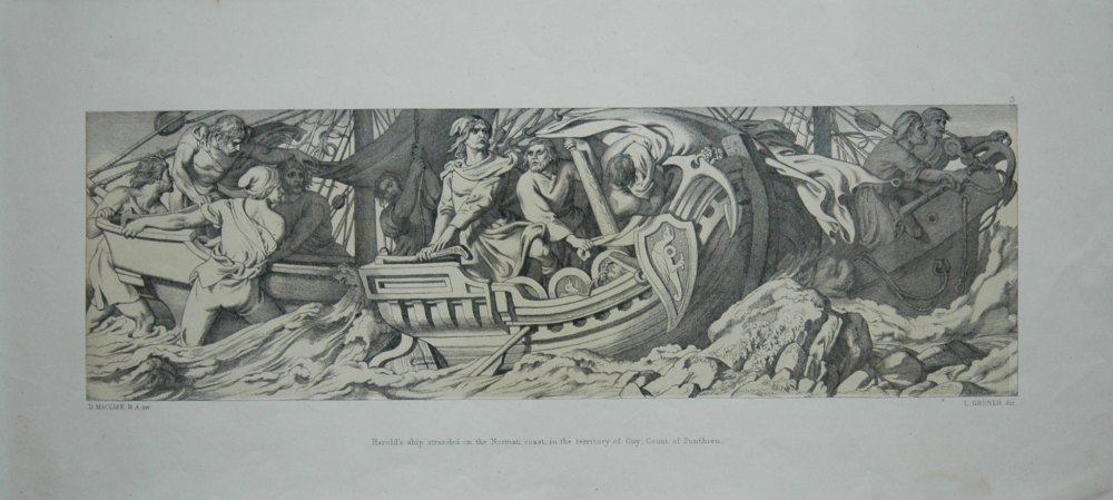 Harold's ship stranded on the Norman coast, in the territory of Guy, Count of Ponthieu.