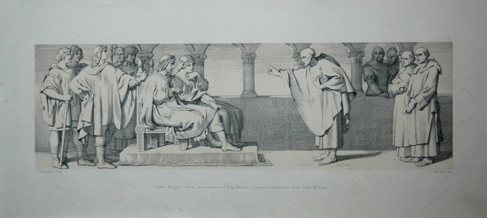 Hugues Maigrot, a Monk, has audience of King Harold, to propose conditions from Duke William.