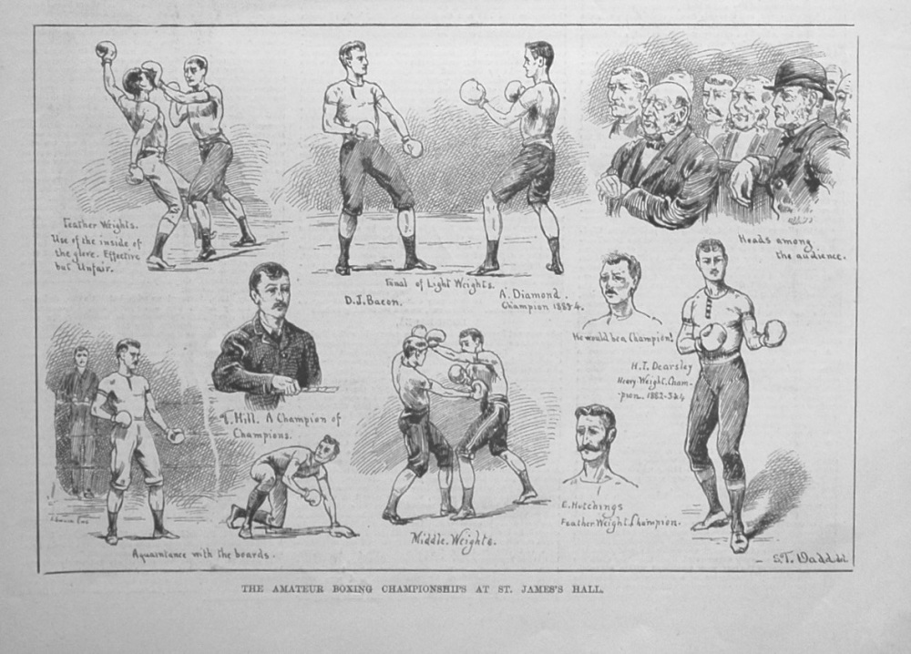 The Amateur Boxing Championships at St. James's Hall. 1884