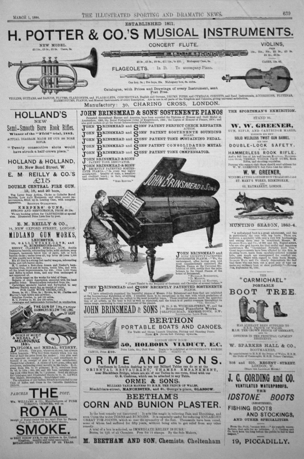 Adverts. Illustrated Sporting and Dramatic News March 1st 1884.