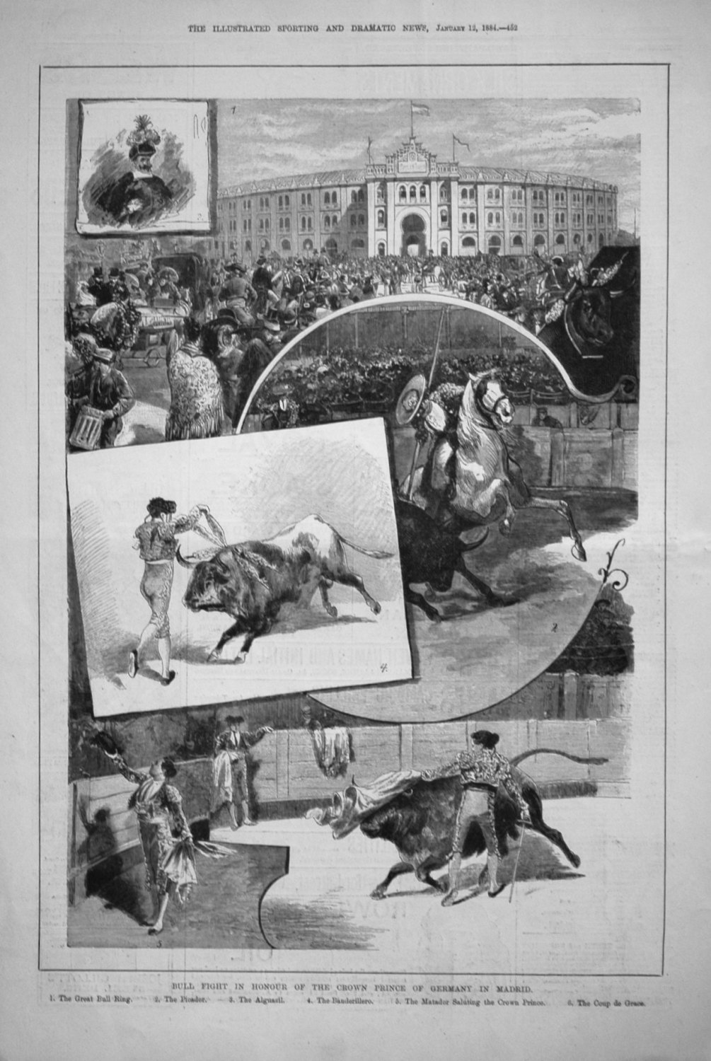 Bull Fight in Honour of the Crown Prince of Germany in Madrid. 1884