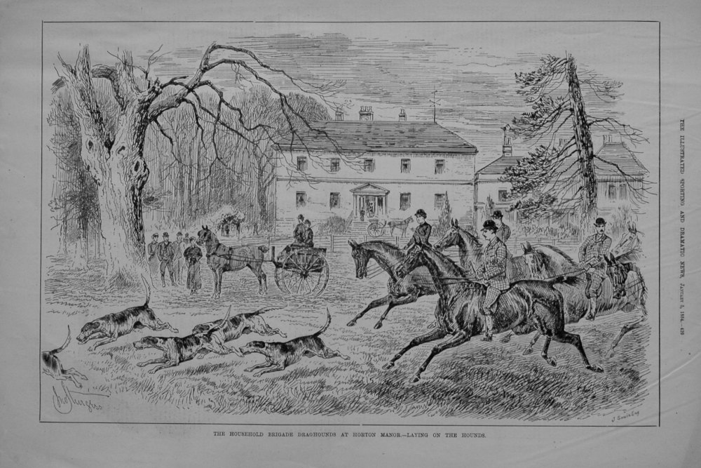 The Household Brigade Draghounds at Horton Manor.-Laying on the Hounds.