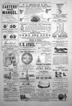 Adverts. Illustrated Sporting and Dramatic News April 26th 1884.