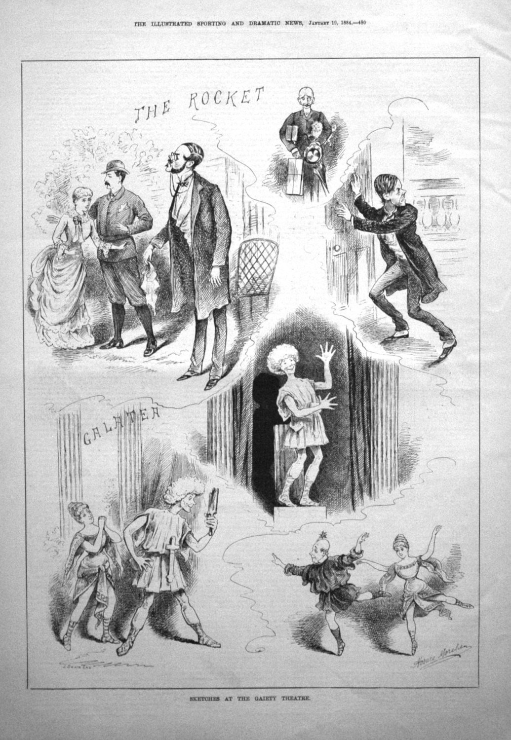 Sketches at the Gaiety Theatre. 1884.