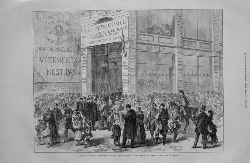 Relief of Paris : Distribution of the English Gift at the Maison Du Grand Conde, Rue De Seine.