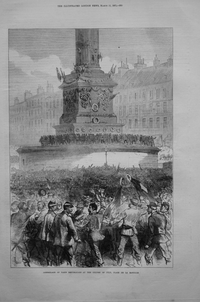 Assemblage of Paris Republicans at the Column of July, Place De La Bastille.