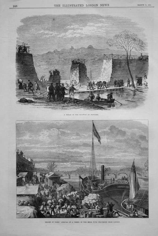 Relief of Paris : Arrival of a Vessel in the Seine with Provisions from London. 1871.