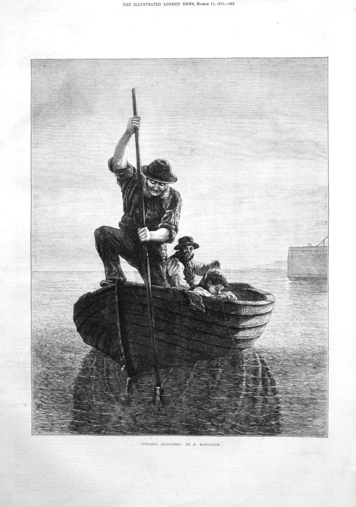 """Spearing Flounders,"" by H. Maccallum. 1871"