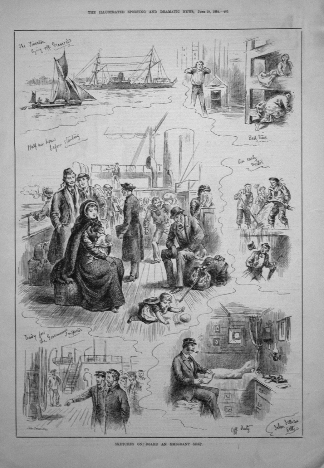 Sketches on Board an Emigrant Ship. 1884
