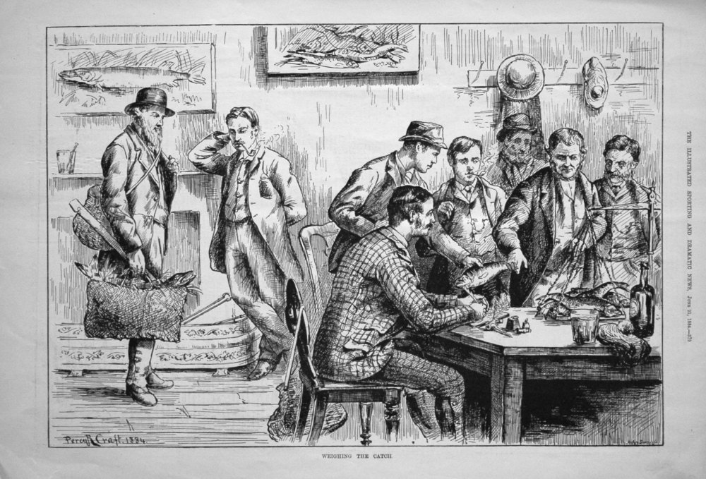 Weighing the Catch. 1884