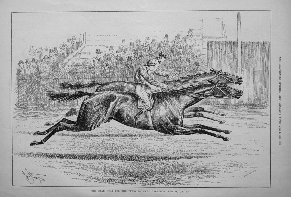 The Dead Heat for the Derby between Harvester and St. Gatien. 1884