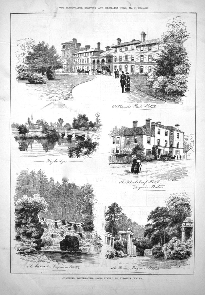 """Coaching Routes. - The """"Old Times"""" to Virginia Water. 1884"""