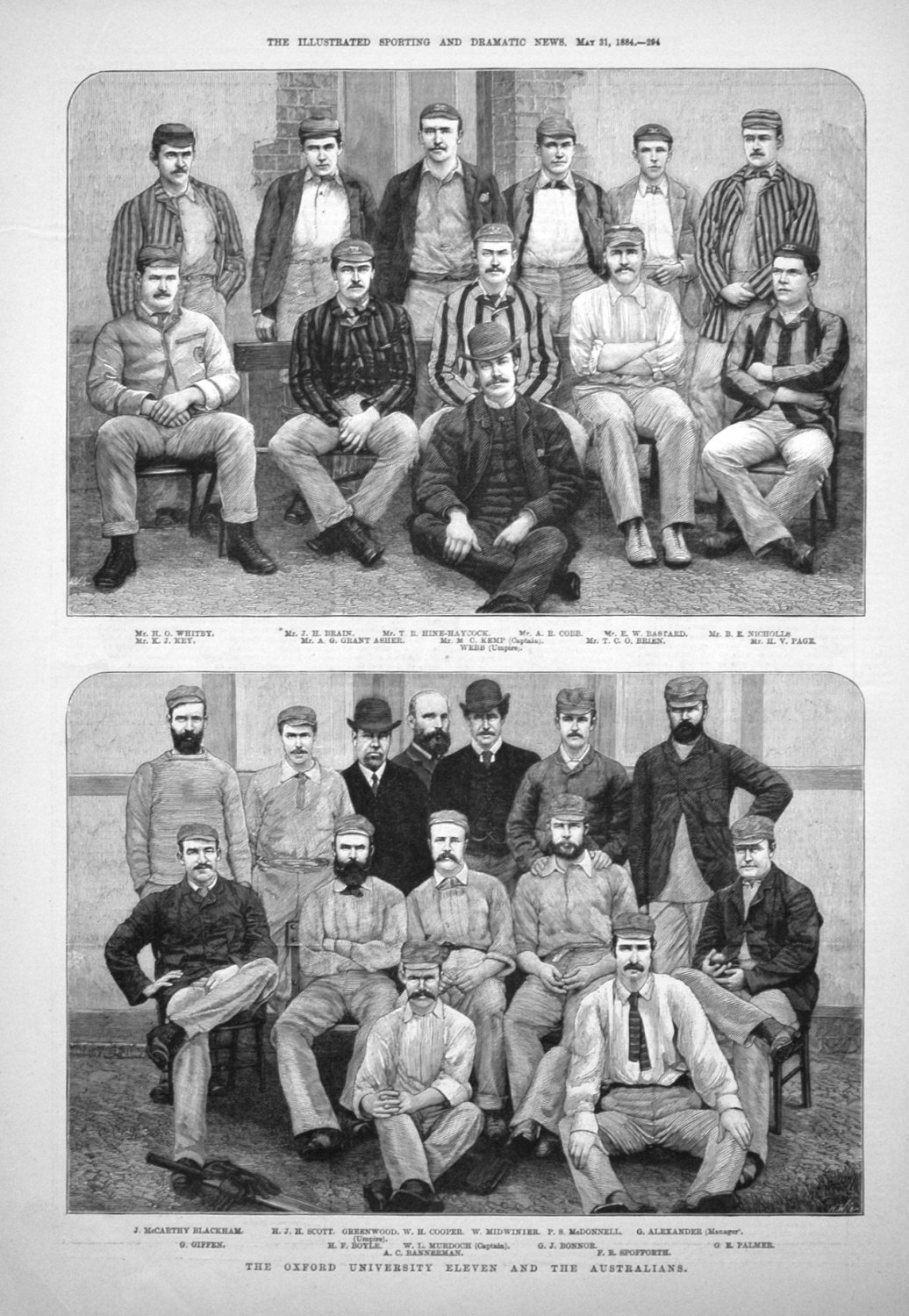 The Oxford University Eleven and the Australians. 1884