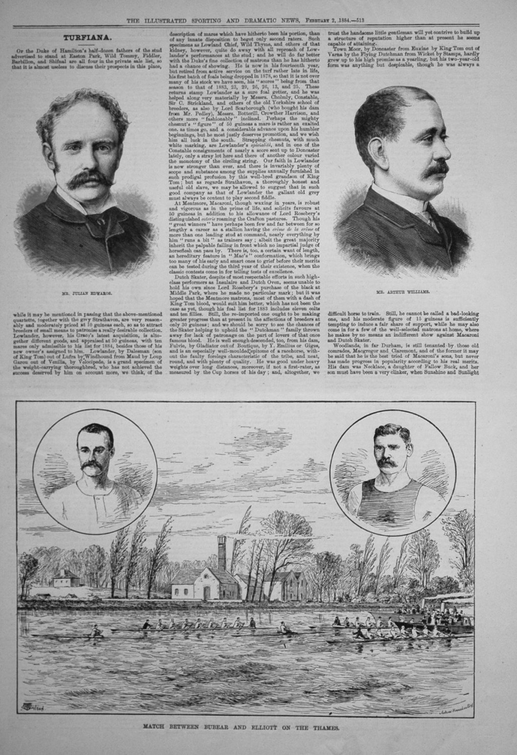 Match between Bubear and Elliott on the Thames. 1884