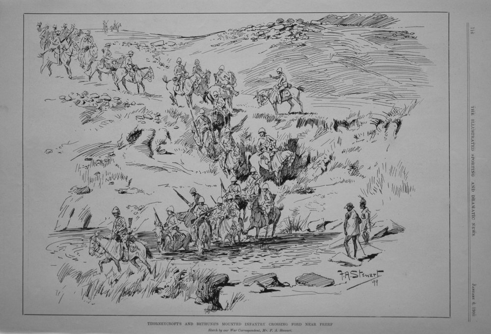 Thorneycroft's and Bethune's Mounted Infantry Crossing Ford Near Frerf.