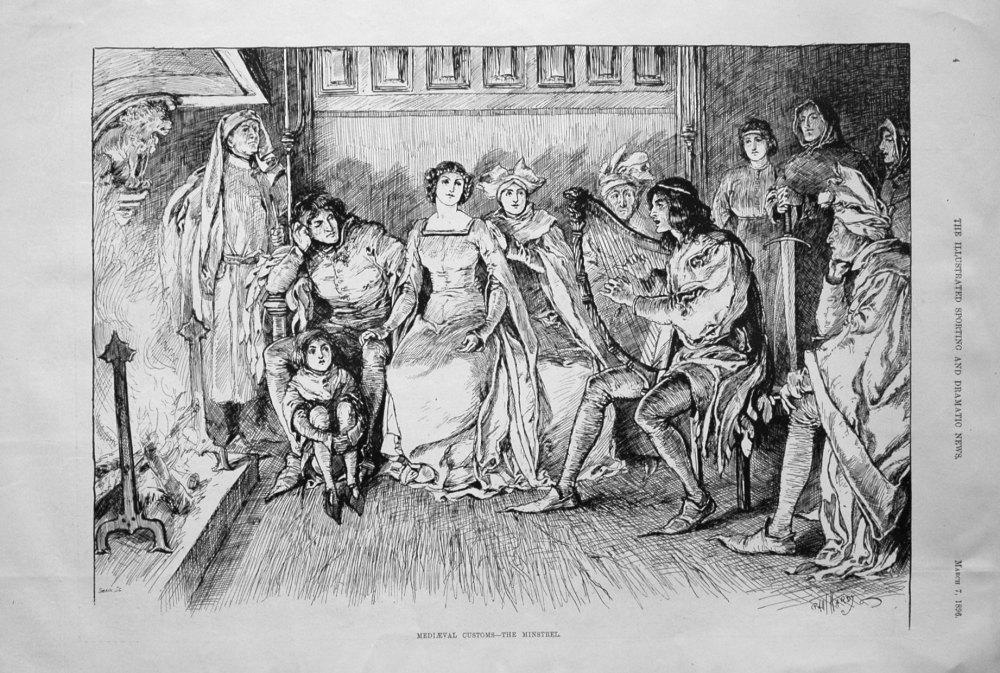Medieval Customs - The Minstrel. 1896