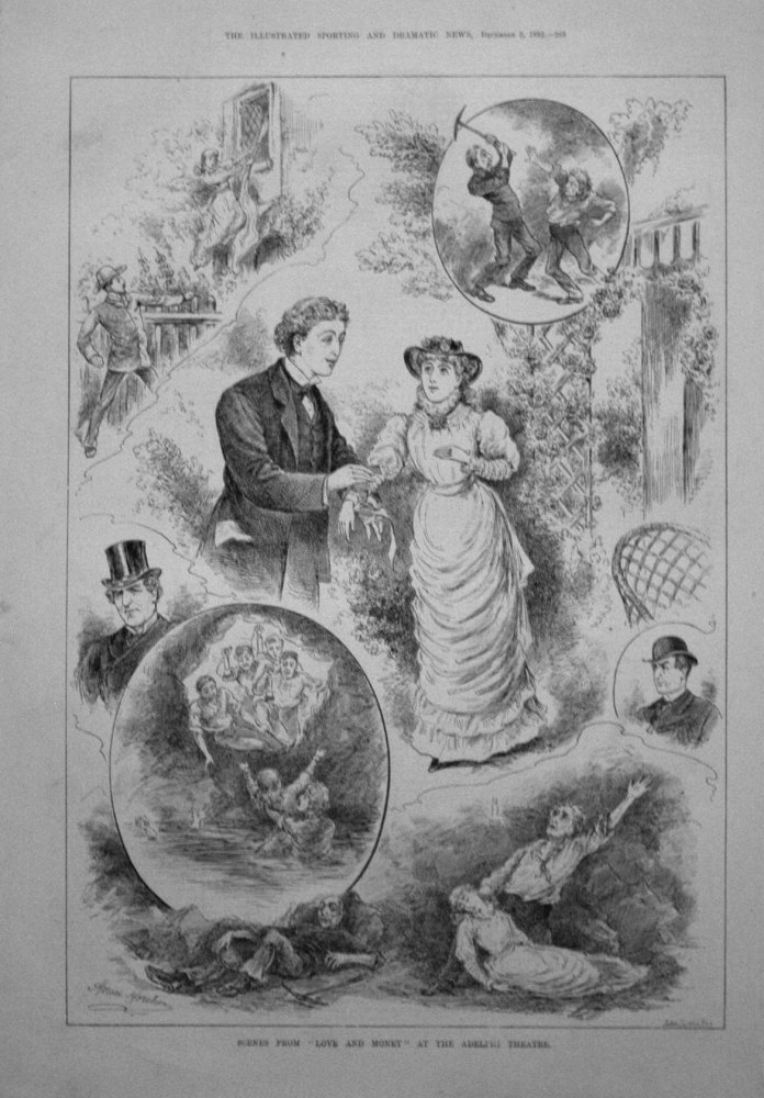 "Scenes from ""Love and Money"" at the Adelphi Theatre. 1882"