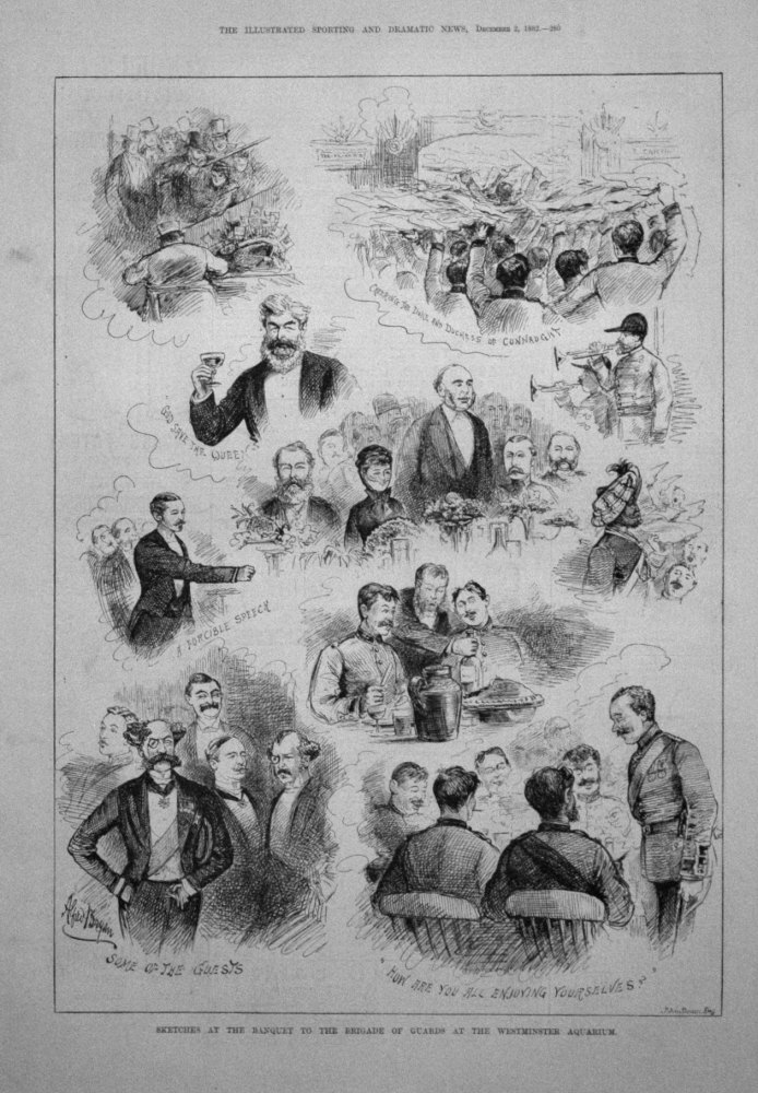 Sketches at the Banquet to the Brigade of Guards at the Westminster Aquarium. 1882