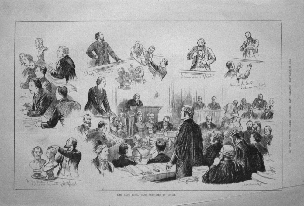 The Belt Libel Case - Sketches in Court. 1882