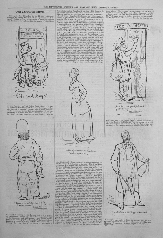 Our Captious Critic, November 11th 1882.