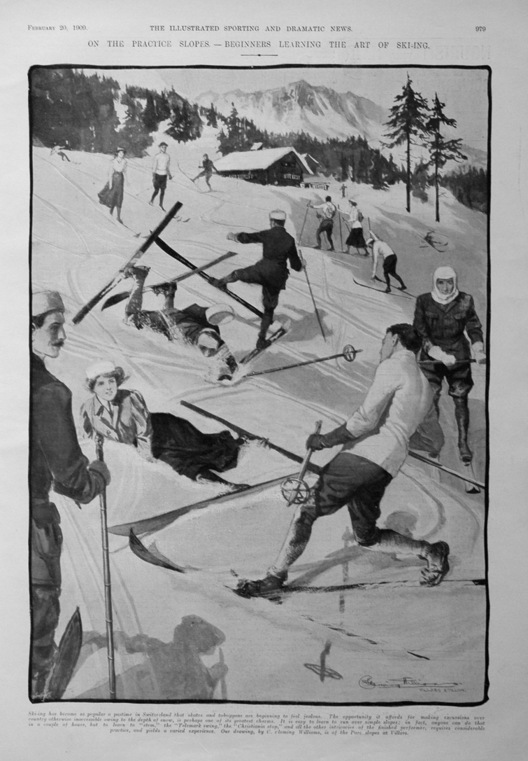 On the Practice Slopes . - Beginners Learning the Art of Ski-ing. 1909