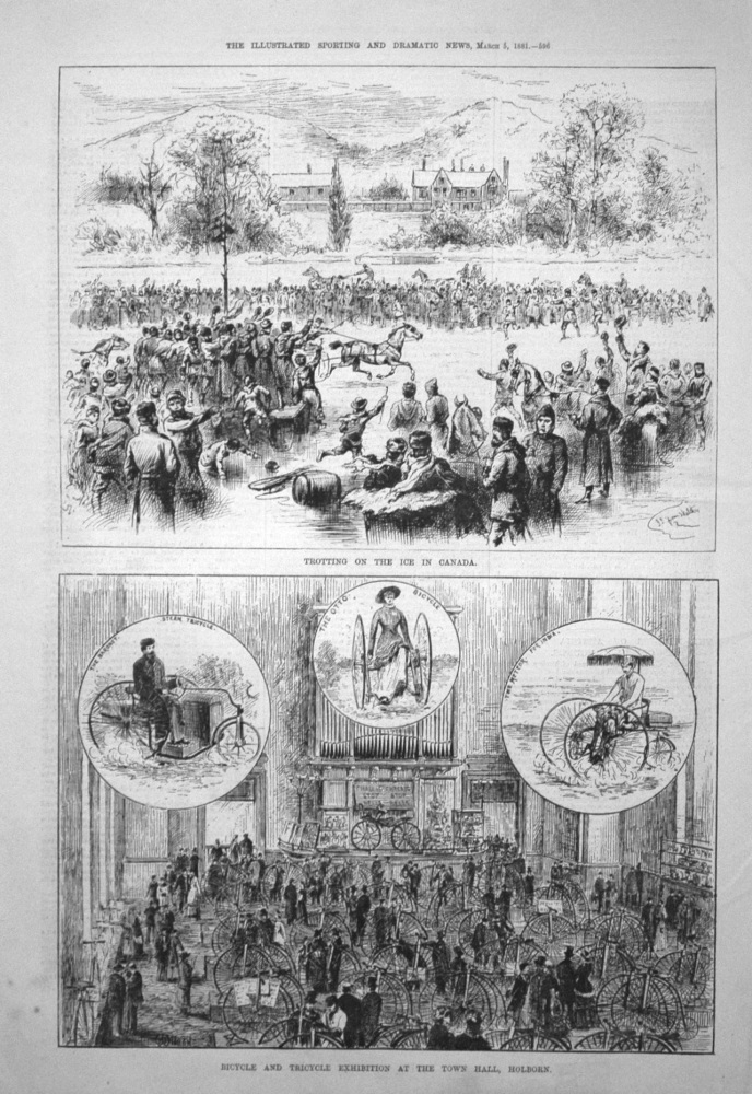 Bicycle and Tricycle Exhibition at the Town Hall, Holborn. 1881
