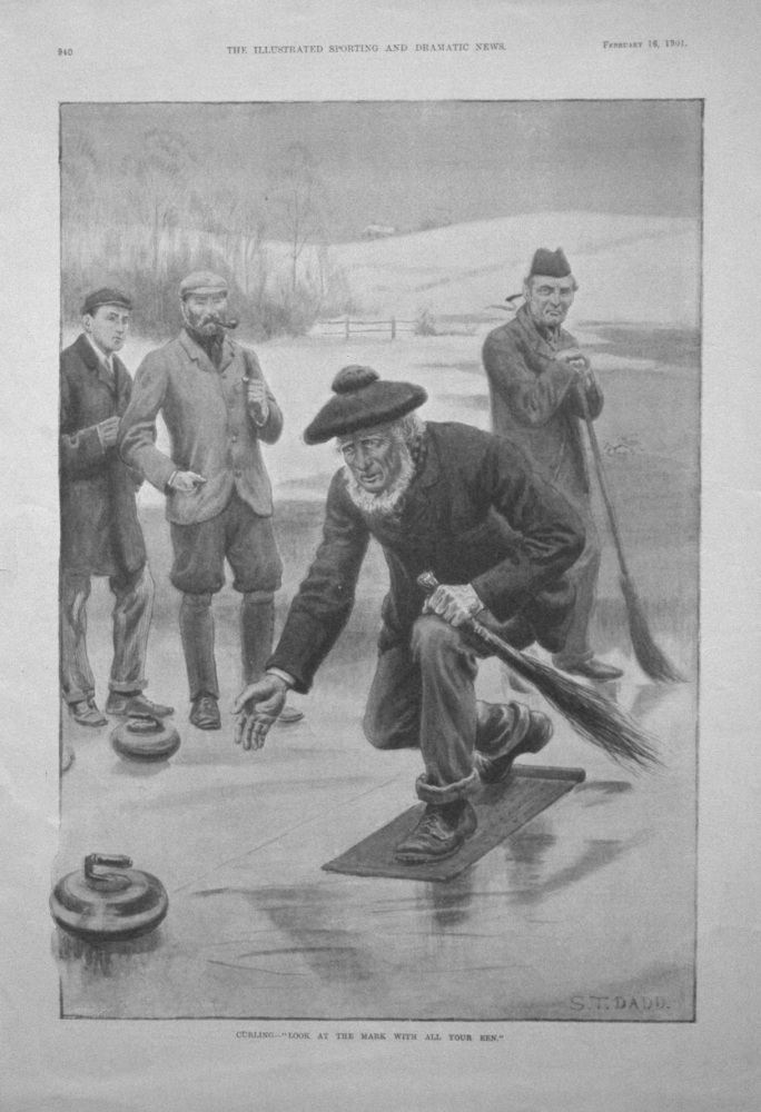 """Curling - """"Look at the Mark with all your Een."""" 1901"""