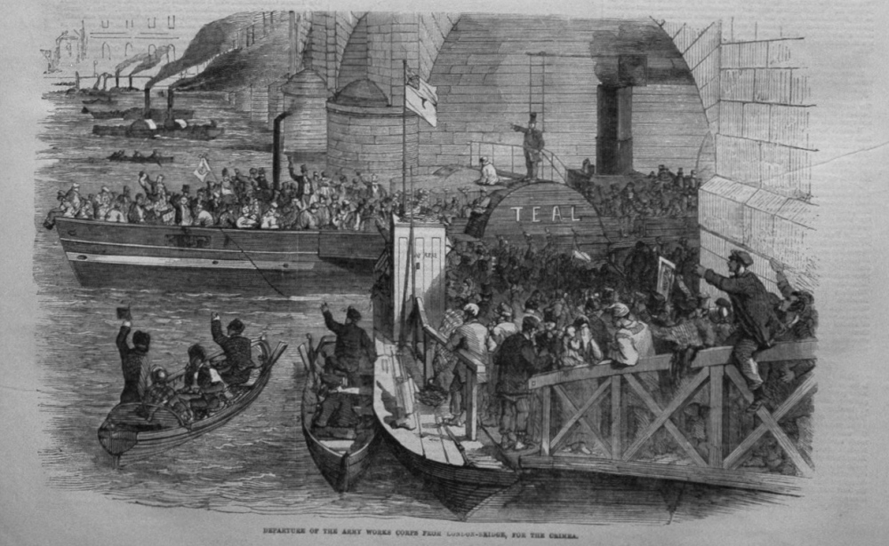 Departure of the Army Works Corps from London-Bridge, for the Crimea. 1855