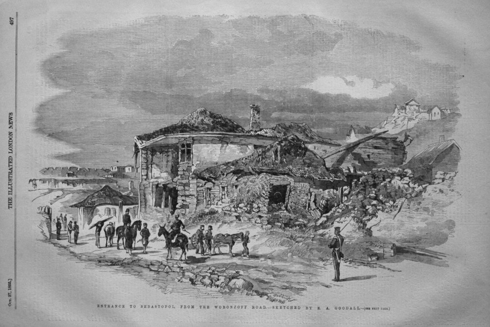 Entrance to Sebastopol, from the Woronzoff Road. - Sketched by E.A. Goodall