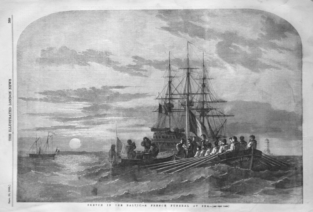 Sketch in the Baltic.- A French Funeral at Sea. 1855