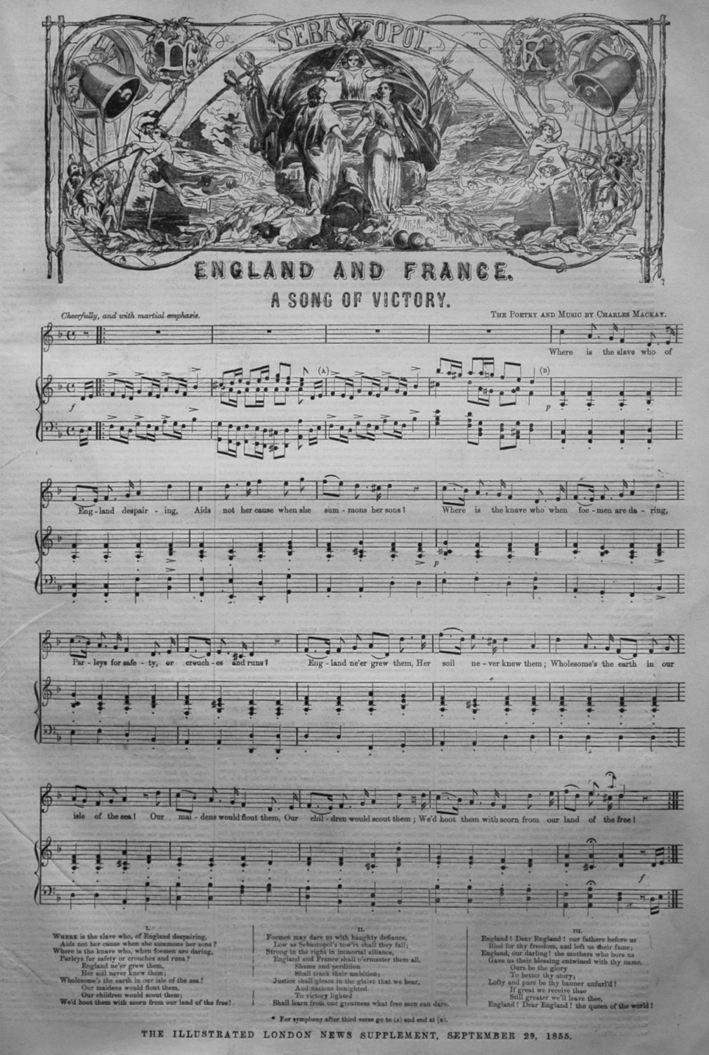 Sebastopol. England and France. A Song of Victory. 1855