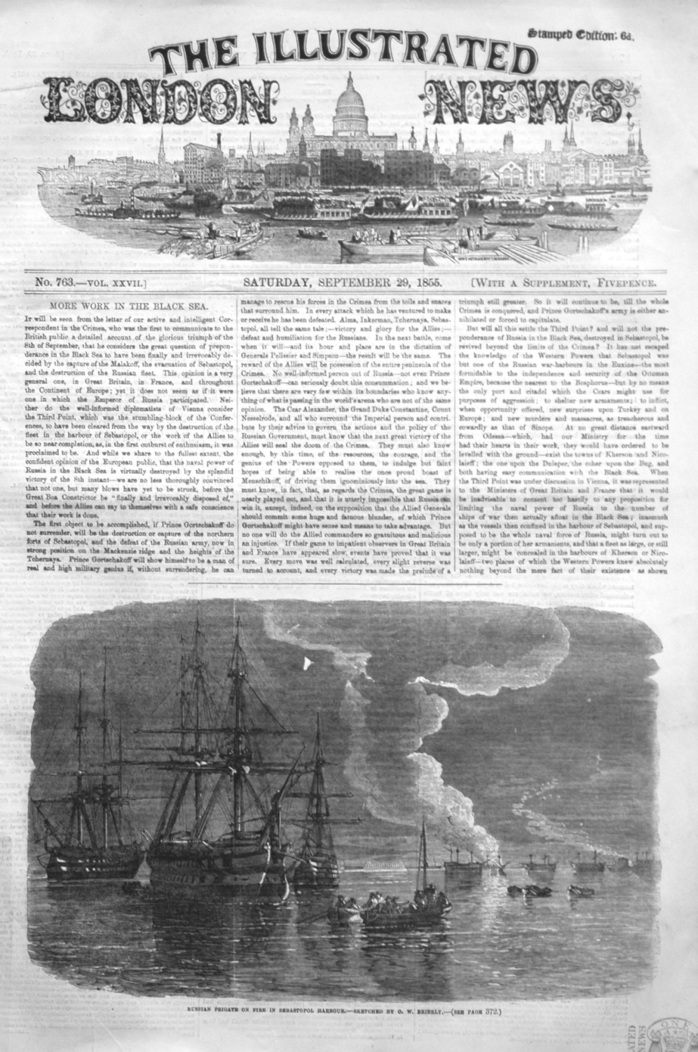 Russian Frigate on Fire in Sebastopol Harbour. - Sketched by O.W. Brierly.