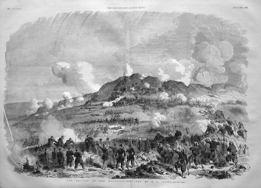 The Assault on the Malakoff. - Sketched by J.A. Crowe. 1855