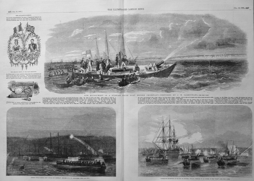 Gun Experiment in a Russian Prize Boat Before Cronstadt, Sketched by J.W. C