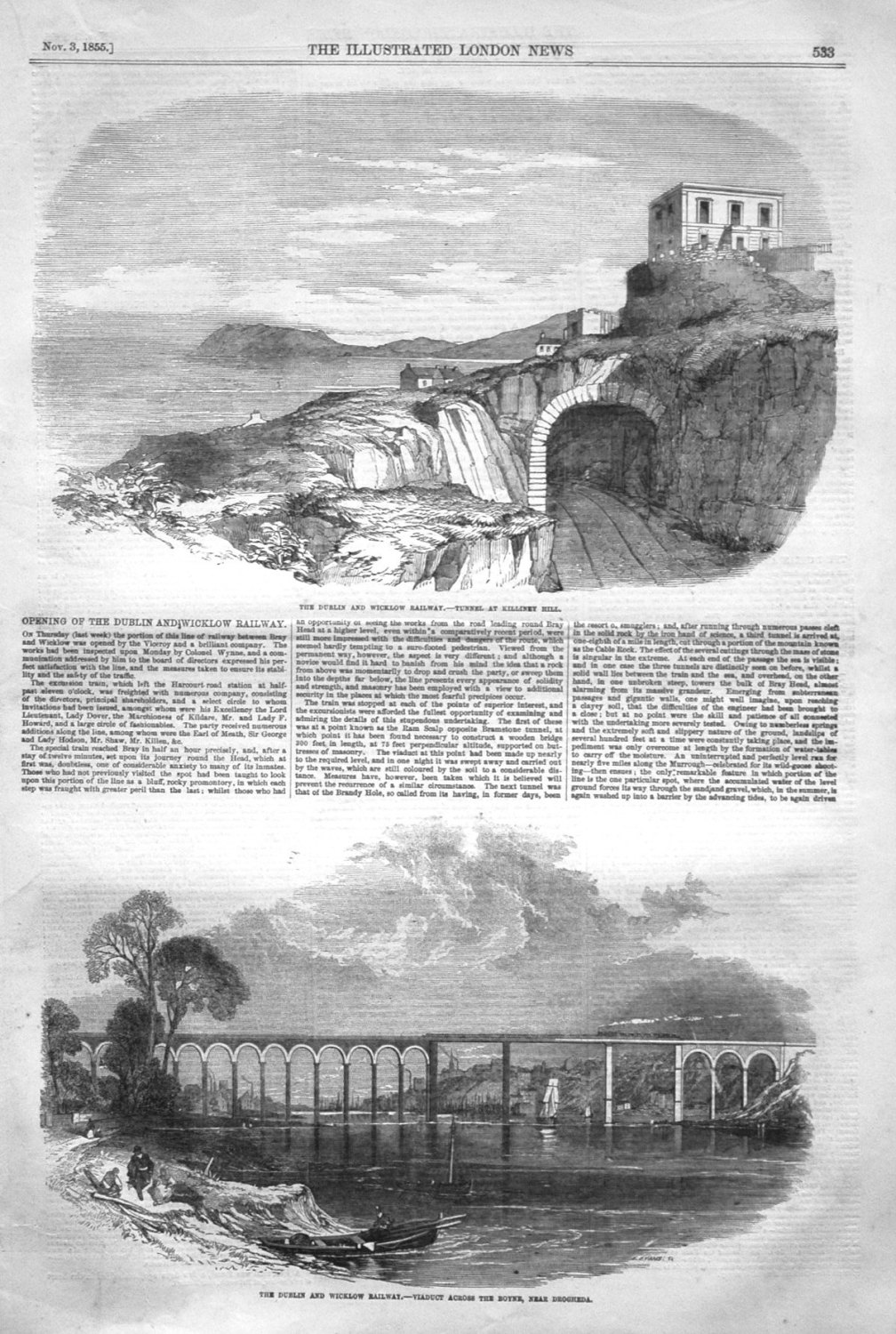 The Dublin and Wicklow Railway. - Tunnel at Killiney Hill. 1855