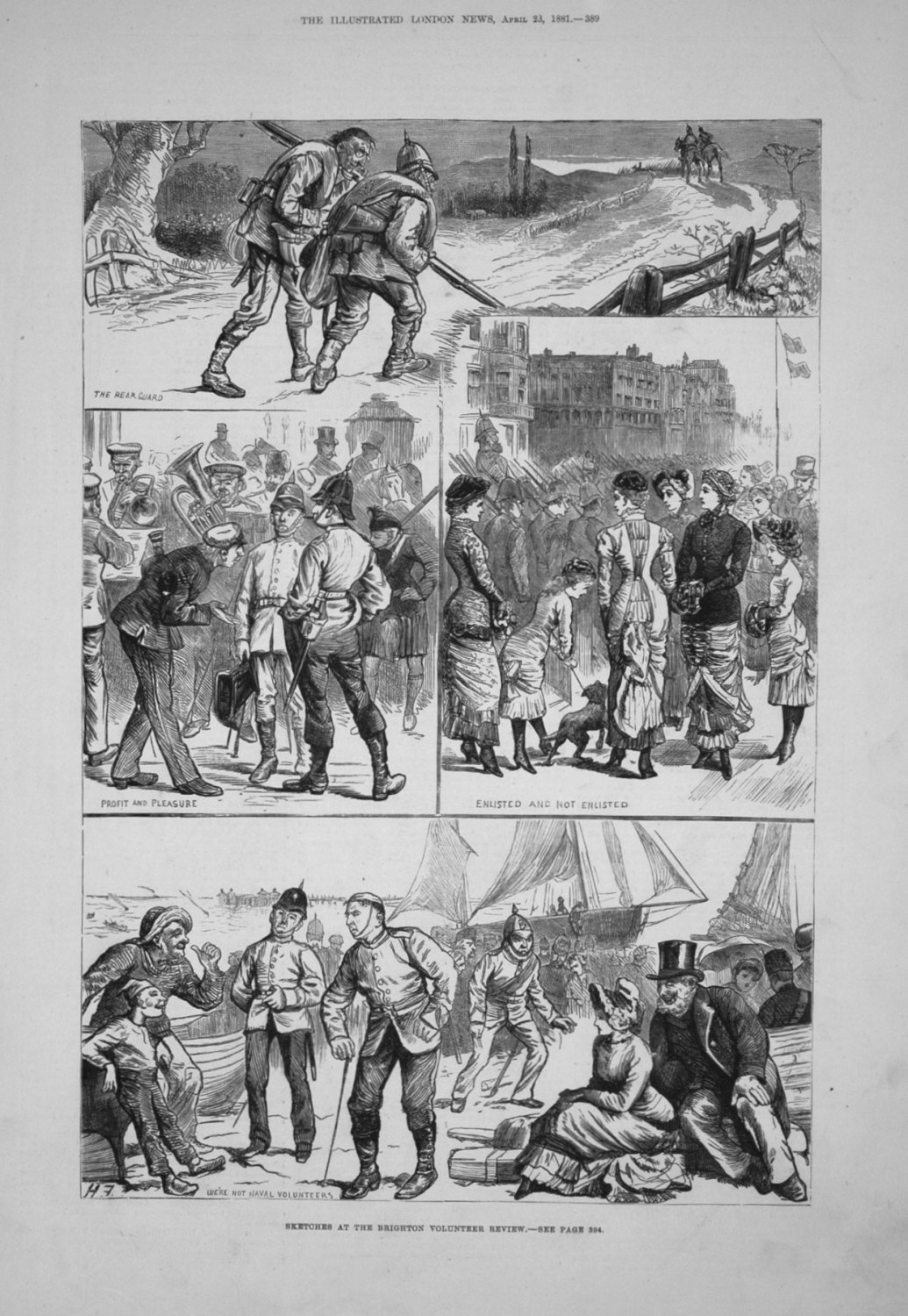 Sketches at the Brighton Volunteer Review. 1881