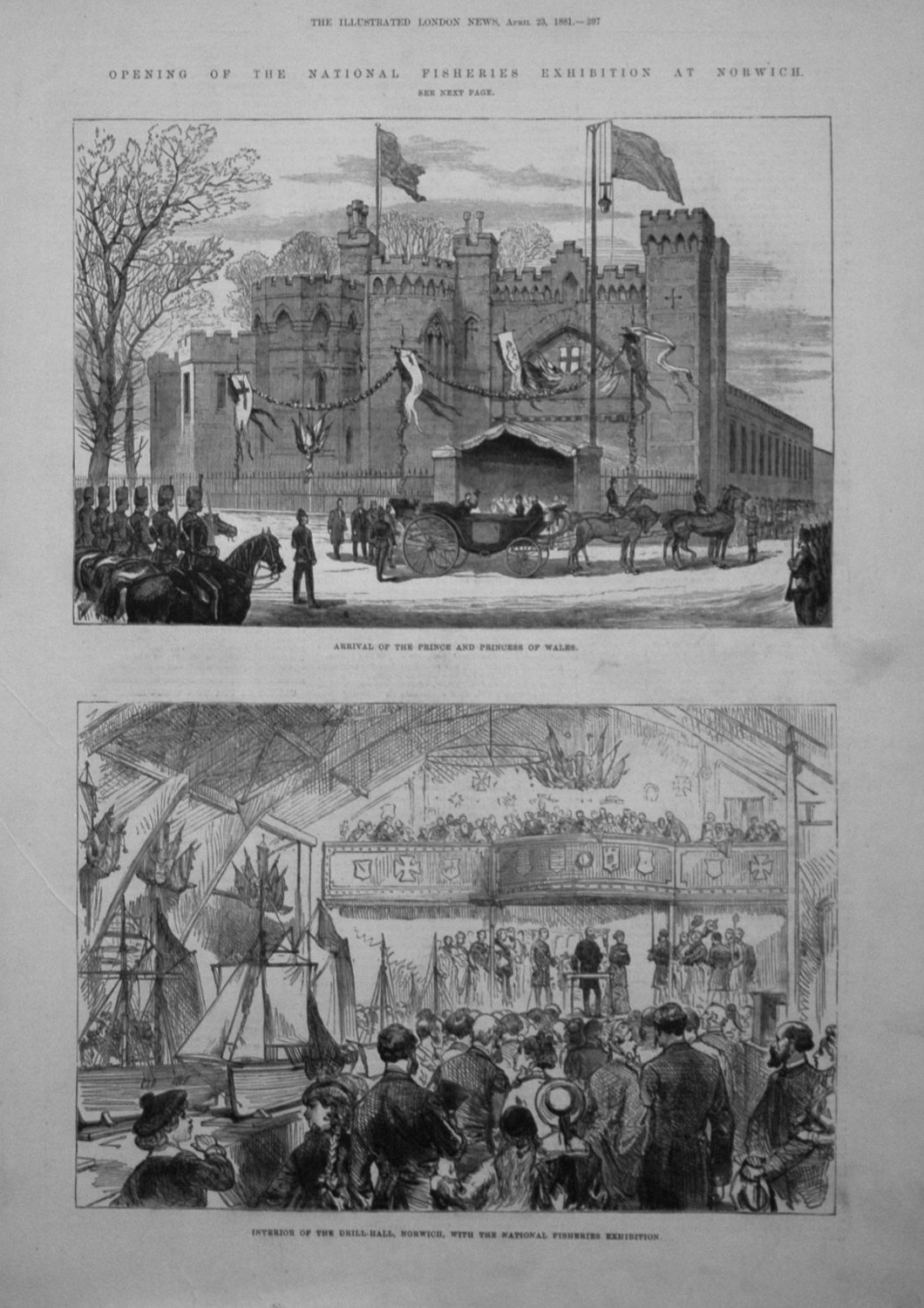 Opening of the National Fisheries Exhibition Norwich. 1881