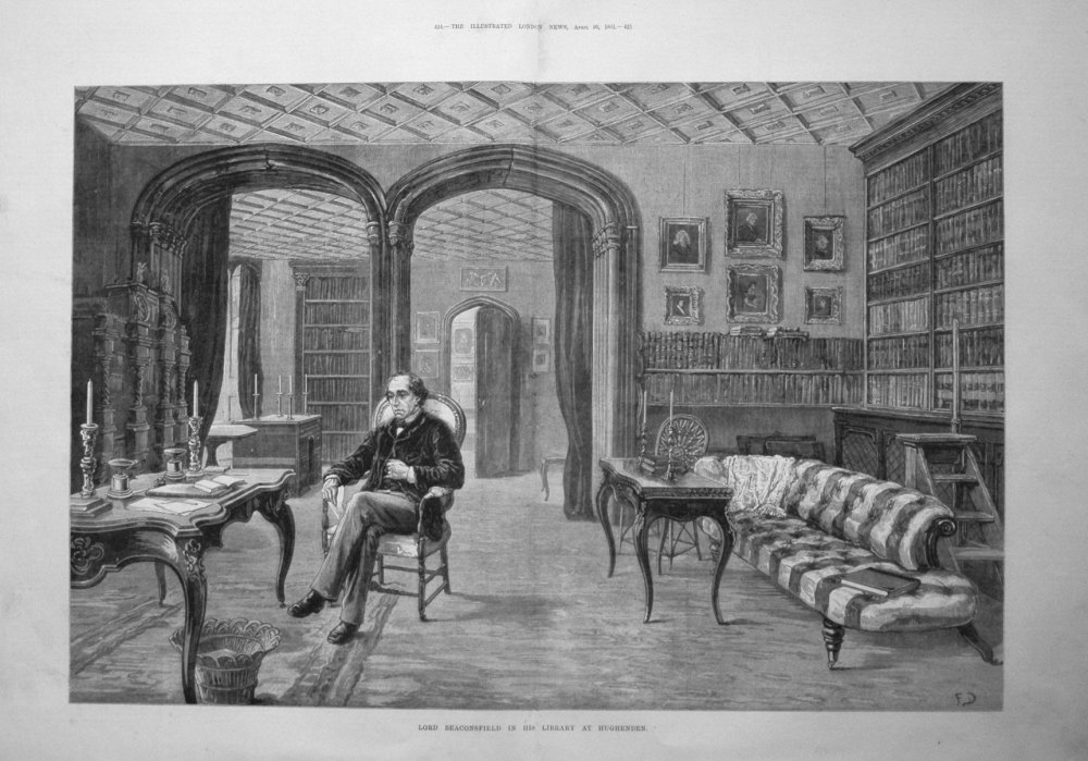 Lord Beaconsfield in his Library at Hughenden. 1881