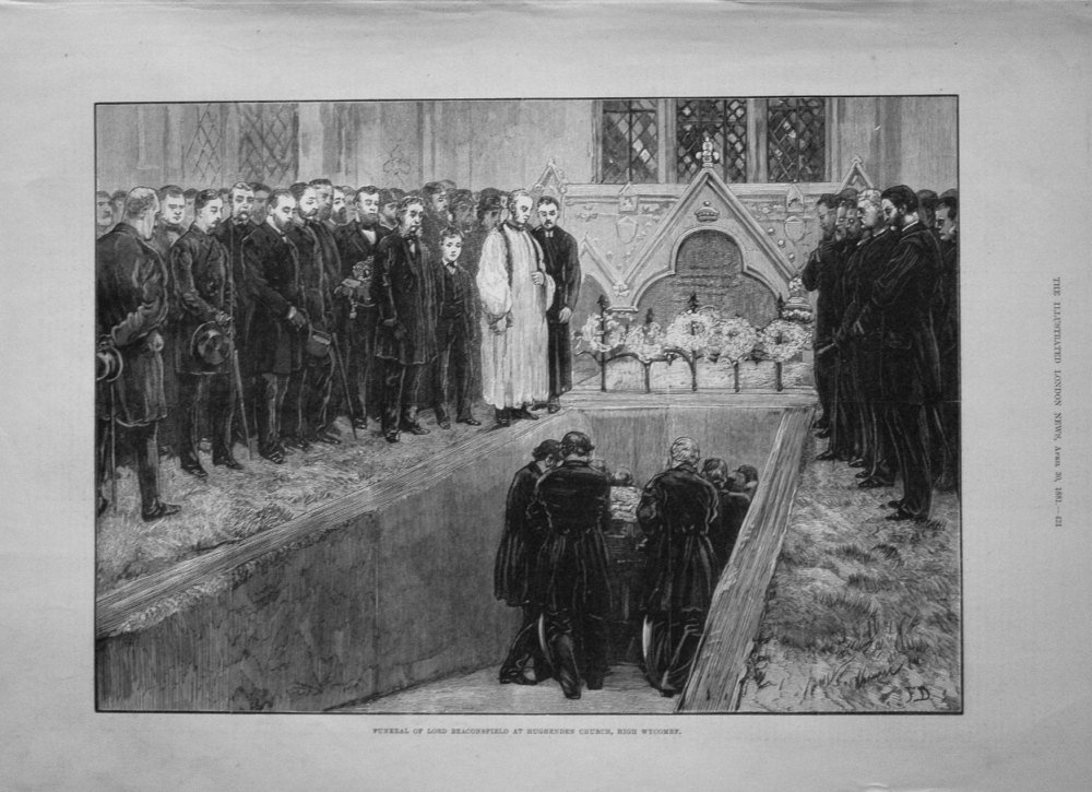 Funeral of Lord Beaconsfield at Hughenden Church, High Wycombe. 1881