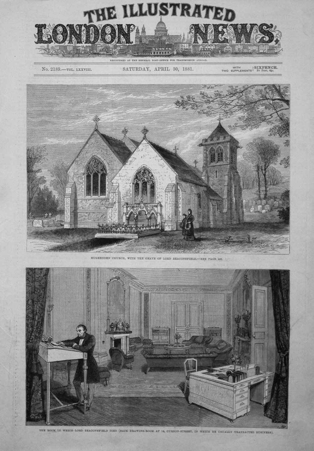 Hughenden Church, with the Grave of Lord Beaconsfield. 1881